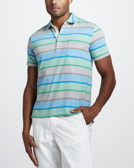 Pensacola Striped Jersey Polo, Blue/Green