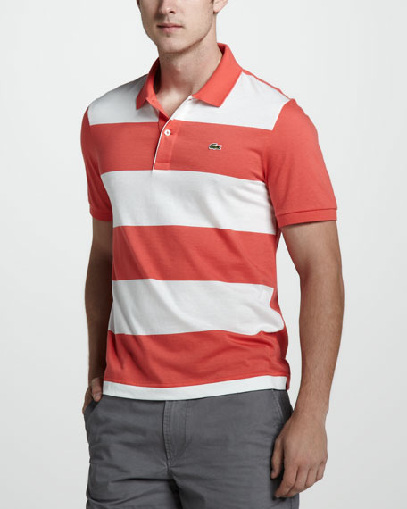 Stripe-Front Jersey Polo, Orange/White