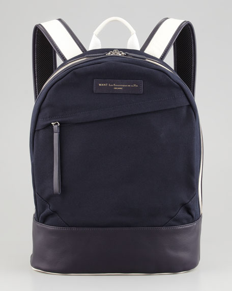 Kastrup Canvas-Leather Backpack, Navy/White