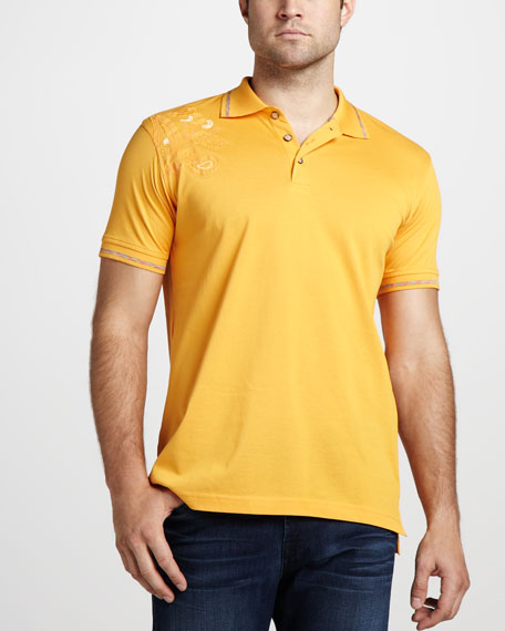 Laguna Paisley-Shoulder Polo, Orange