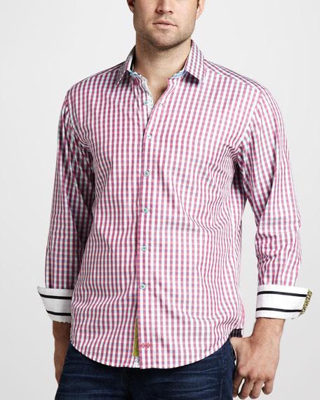 Gingham Sport Shirt, Red