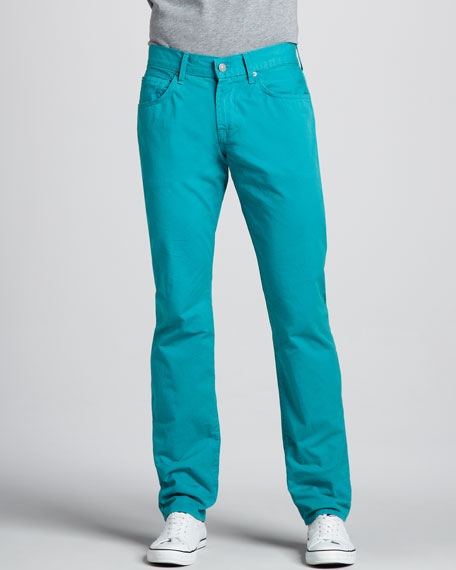The Straight Twill Pants, Teal Blue