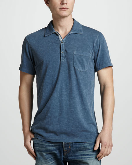 Slub Pocket Polo, Asphalt