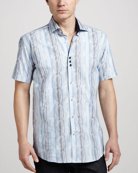 Pierre Striped Jacquard Short-Sleeve Shirt