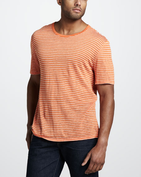 Striped Linen Tee, Apricot/Ecru