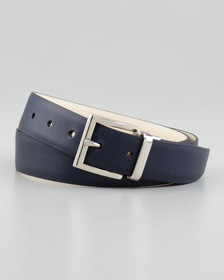 Reversible Saffiano Belt, Blue/Gray