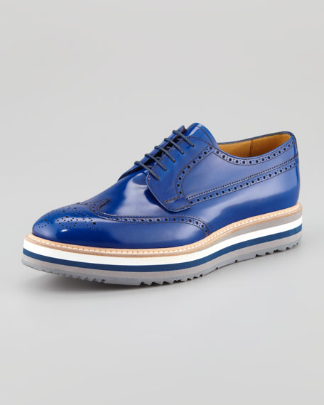 Wing-Tip Oxford On Striped Micro Sole, Cobalt