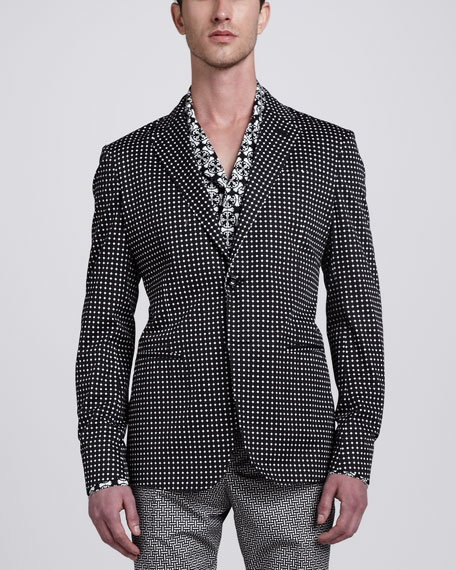 Tile-Print Cotton Sport Coat