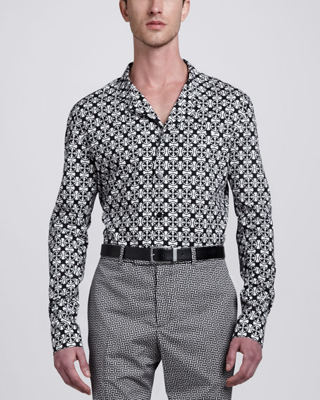 Tile-Print Long-Sleeve Shirt