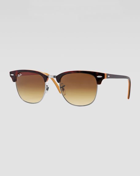 Clubmaster Sunglasses, Dark Tortoise/Orange