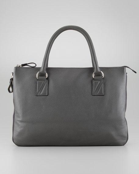 Men's Leather Zip Tote Bag, Gray