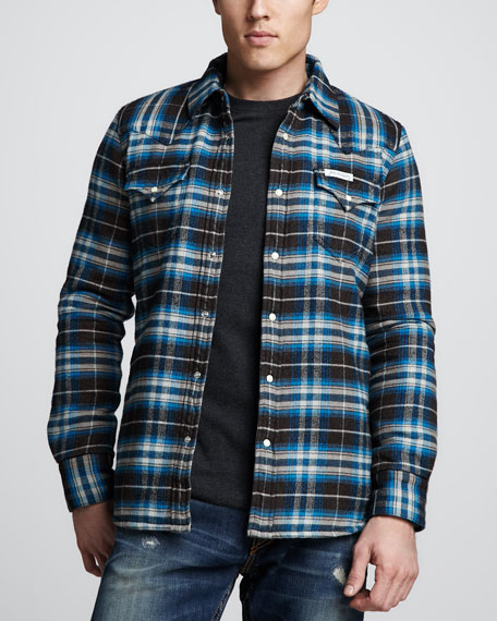 Sherpa-Lined Plaid Jacket