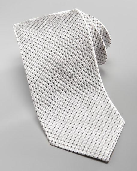 Diagonal-Grid Silk Tie, Gray