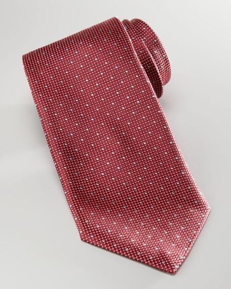 Pindot Silk Tie, Red/Gray