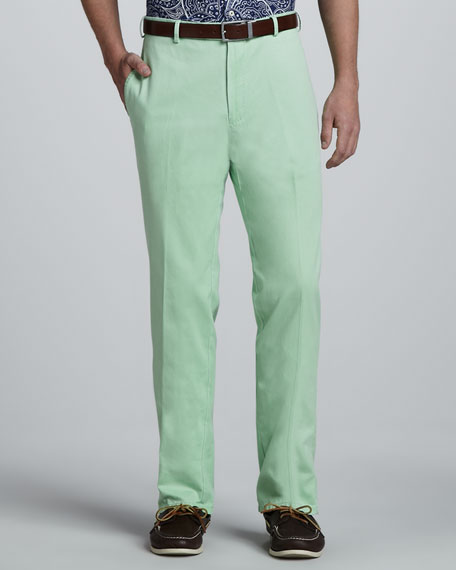 Washed Twill Pants, Cucumber