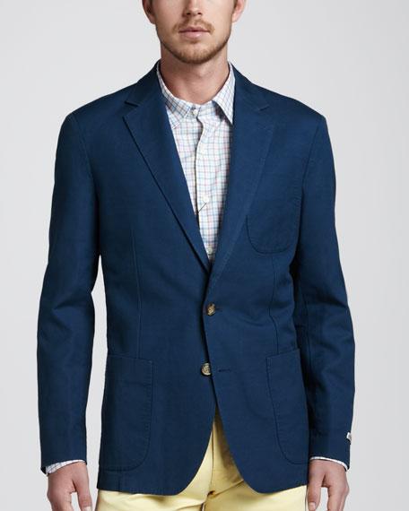Soft Cotton-Linen Blazer, Navy