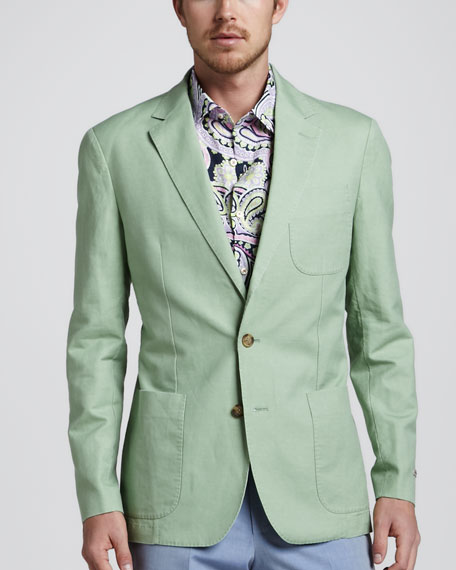 Soft Cotton-Linen Blazer, Sage