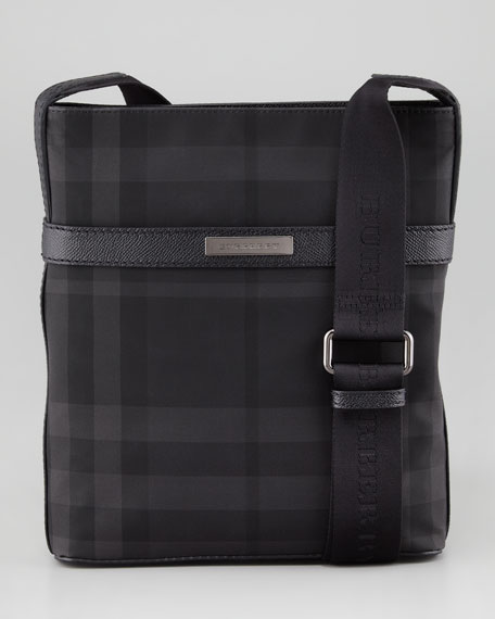 Check Nylon Messenger Bag