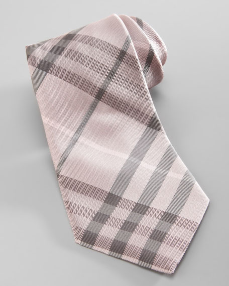 Check Silk Tie, Blush