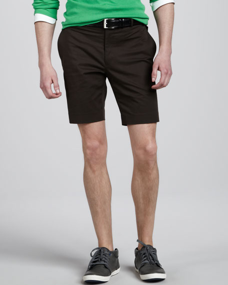 James Stretch-Twill Shorts, Brown