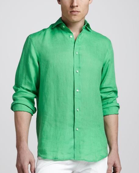 Linen Sport Shirt, Green