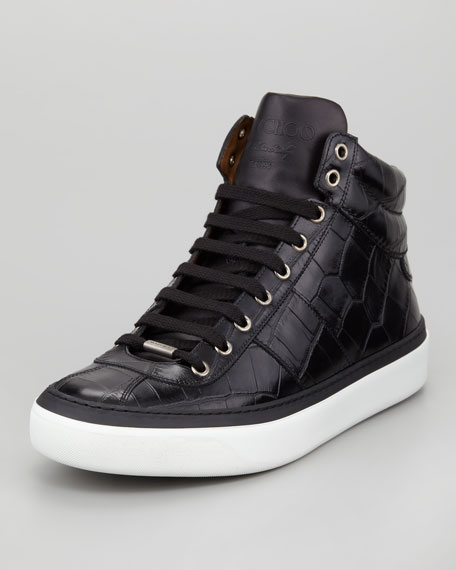 Belgravia Croc-Stamped Hi-Top Men's Sneaker, Black