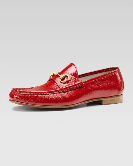 Leather Horsebit Loafer, Red