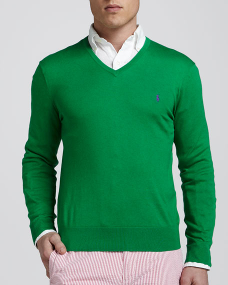 V-Neck Cotton-Cashmere Sweater, Crosby Green