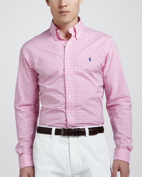 Custom-Fit Gingham Shirt, Pink/White