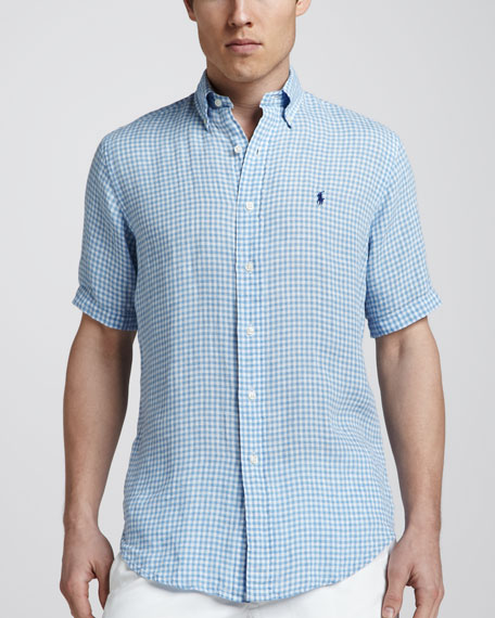 Polo Ralph Lauren Gingham Short-Sleeve Linen Shirt, Light Blue