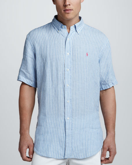 Striped Short Sleeve Linen Shirt, Blue/White