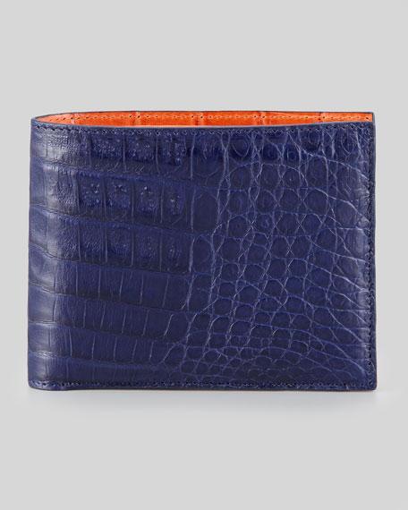 Bicolor Crocodile Wallet, Navy/Orange