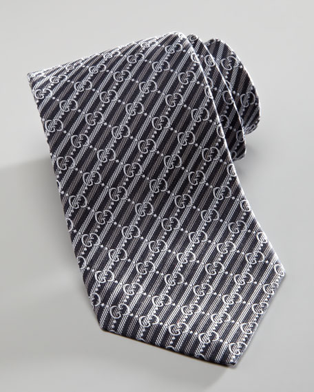 GG Striped Tie, Gray