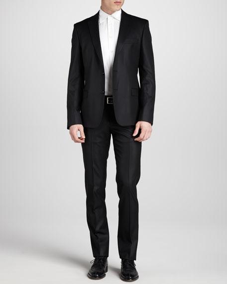 Two-Button Wool Suit, Regular Black