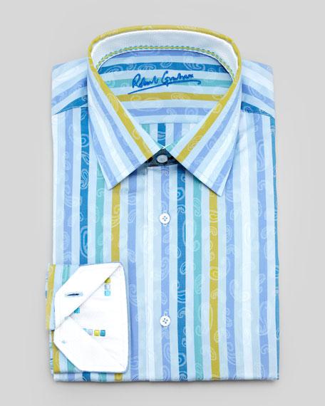 Arrow Striped Paisley Dress Shirt