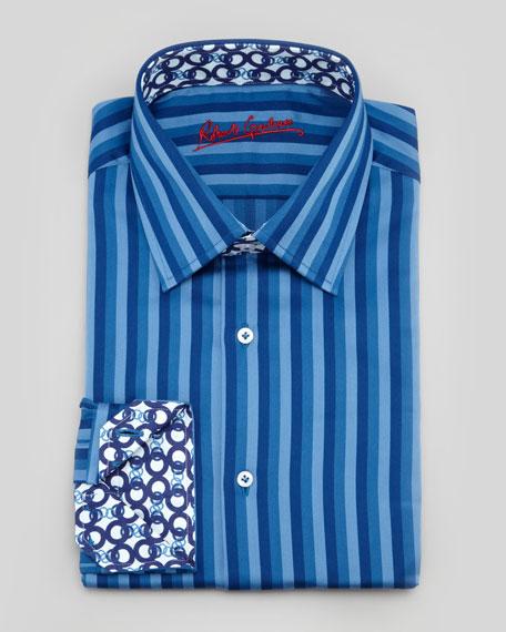Chain Striped Dress Shirt, Navy