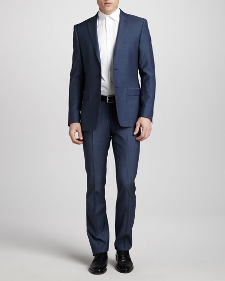 Two-Button Wool Suit, Long, High Blue