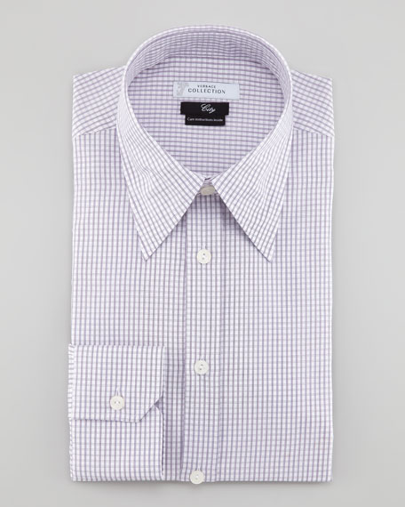 Fine Windowpane Check Long-Sleeve Shirt, White/Dark Purple