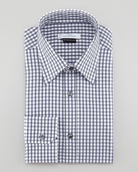 Wide Check Long-Sleeve Shirt, Dark Blue Check
