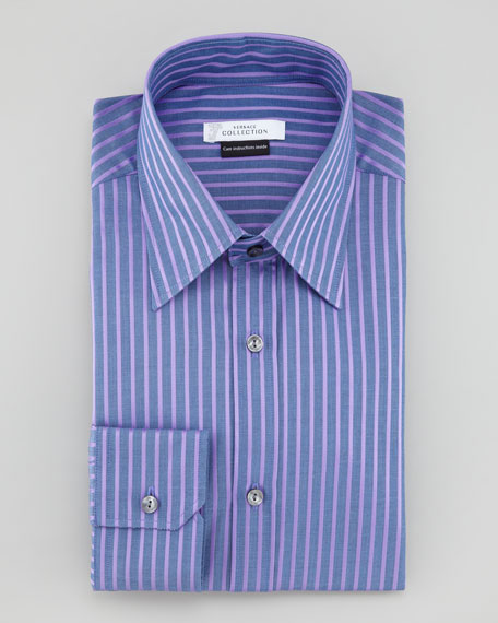 Striped Denim Sport Shirt, Purple