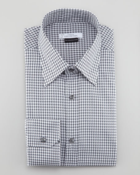 Check Patterned Long-Sleeve Shirt, Charcoal