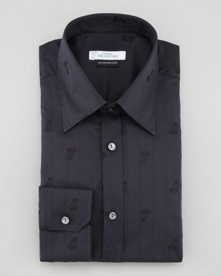 Striped Half-Medusa Shirt, Black