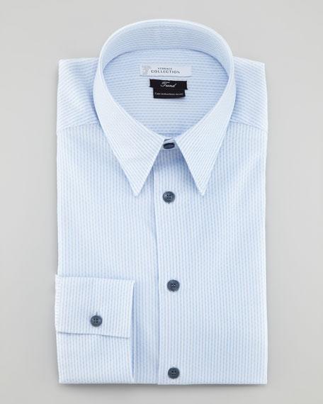 Striped Long-Sleeve Shirt, Light Blue