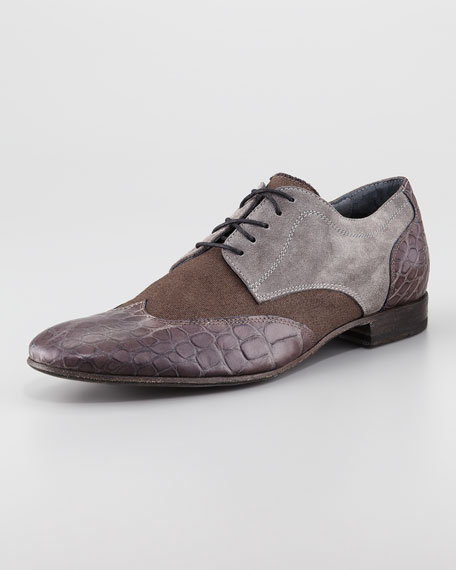 Croc-Embossed Canvas Wing-Tip