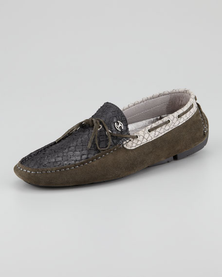 Suede and Python Driving Shoe