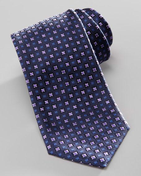 Neat Silk Tie, Navy/Purple