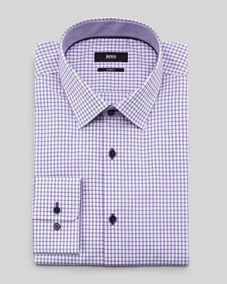 Boss hugo boss slim fit check dress shirt purple for Hugo boss slim dress shirt