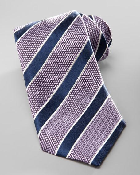 Striped Silk Tie, Purple/Navy