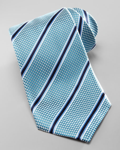 Striped Silk Tie, Aqua/Blue