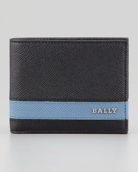 Letrill Blue-Stripe Logo Wallet, Black